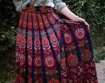 Mandala skirt, mandala wrap skirt, wrap skirt, maxi skirt, Maxi wrap skirt, Bohemian skirt, gypsy skirt, Hippie skirt, Festival skirt
