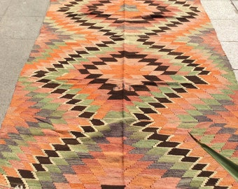 Kilim rug, vintage rug, turkish kilim rug, area rug, colorful rug, pink rug 8.6 x 5.4 ft