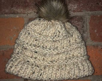 Winter Hat With Faux Fur Pom Pom