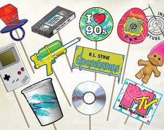 I Love The 90s Photobooth Props - Digital Download -Printable 1990s Nostalgia Retro Gameboy Troll MTV CD Ringpop Vintage Party Decoration