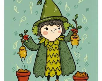 Mandrake & Pomona Sprout Harry Potter Fan Art Illustration