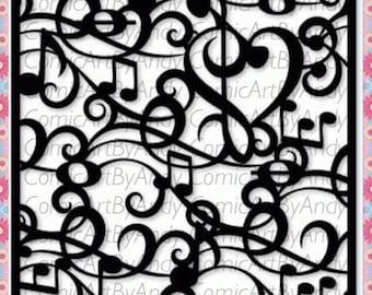 music stencil  reusable stencil wall furniture canvas stencil