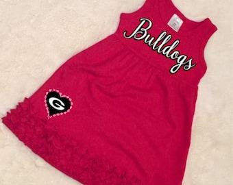 Georgia Bulldogs Girls' Toddler Dress, Girls' UGA Dress, University of Georgia Bulldogs Red Toddler Dress. UGA Toddler Clothes