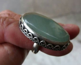 Cloudy Days - Pale Green Oval Statement Ring size 8.5