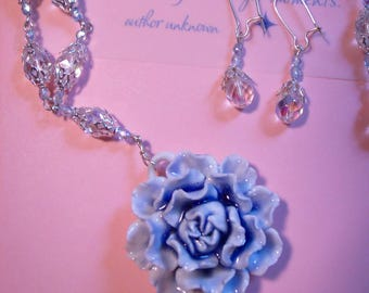 Blue Beauty Necklace and Earring Set