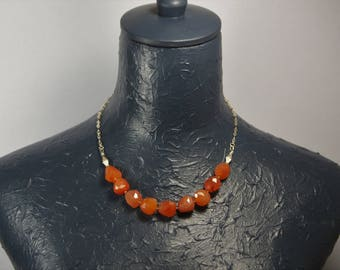 Real Carnelian and Sterling Silver Necklace E 040