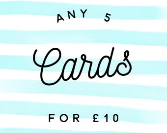 Choose any 5 greetings cards, any 5 cards, birthday cards, best friend cards, encouragement cards, multipack of 3 greetings cards