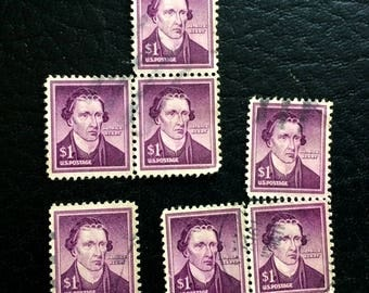 1955 Scott 1052 Patrick Henry used and cancelled 1 dollar stamp off paper 7 stamps