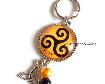 Celtic keyring, keychain triskel black golden, Jewelry bag, triskel cabochon, celtic glass, beads
