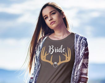 Bride shirt / country bride / antler shirt / country wedding / bachelorette party / bridal party shirt / country girl shirt / bride tee