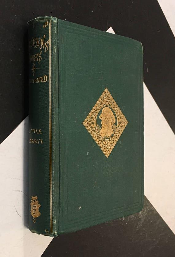 Little Dorrit by Charles Dickens; Illustrator: S. Eytinge green vintage shabby chich antiquarian classic fiction novel (Hardcover, 1867)