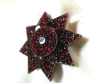 Antique Victorian Bohemian Garnet Brooch / Pin