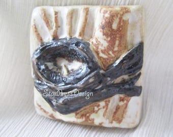 Clay Nest Art Tile - Nest Art - Unique Handmade Art- Bird Gifts - Nature Art Tile - Made in Colorado - Small Gift