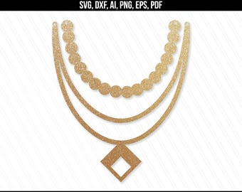 Necklace svg, Jewelry svg dxf cut files,leather jewelry, Pearl necklace svg, Cricut silhouette, Necklace vector - svg,dxf,ai,eps,png,pdf