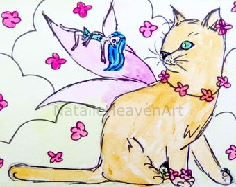 Fairy Cat Print, Fairy Art, Giclee Prints of Cats, Elf Picture, Fantasy Lover Gift, Cat Lover Gift, Gifts for Girls Purple, Wall Art Whimsy