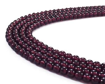 1Full Strand 6mm Red Garnet Round Beads,Natural Gemstone Beads For Jewelry Making