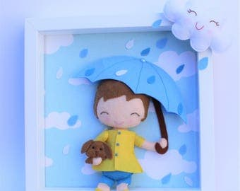 Child room decor: picture children's room, personalized gift, newborn baby gift, baby boy shower and felt dolls