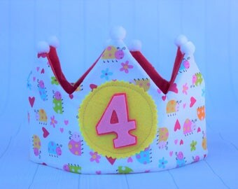 Fabric crown, children's birthday crown, party crown, Princess Crown, party crown, birthday gift, gift for girls,