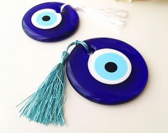 Evil eye beads, bulk gifts, 7cm, wedding favor for guest, evil eye charm with tassel, evil eye favor,   nazar boncuk, evil eye car charm