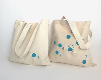 Connect-The-Dots Tote – large white canvas double sided blue graphic print reusable carry-on grocery day bag