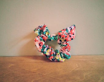 Tropical Floral Floral Scrunchie with Bunny Ears - to go over ponytail