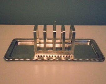 Silver Plated Toast Rack & Tray, with removable rack - Marked 'EPNS'