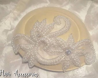 Vintage Cream and Ivory Pearl Encrusted Art Deco 1920s Diamante PillBox Hat Facinator Hair Clip