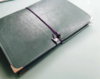 Leather Watercolor Journal - Sketchbook - Peregrine Notebook Teal/purple Cording 40 pages FABRIANO 140 Lb, 300 gsm COLD pressed paper
