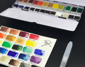 Complete Watercolor Handmade Paint kit  24 HALF pans  non toxic watercolor paint set FREE SHIPPING