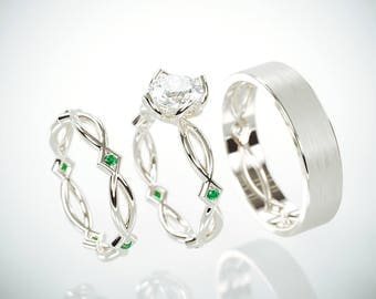 SALE Christmas in July! 14K White Gold Eternity Wedding Rings Set with Charles & Colvard Moissanite and Emeralds and a matching Men's ring