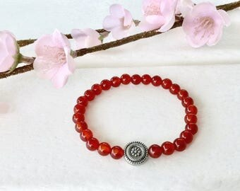 Red Carnelian Bracelet, 6mm beaded bracelet