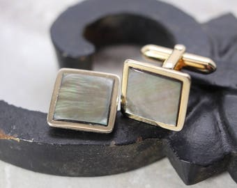 Vintage Swank cufflinks gold-tone, mother of pearl background, square estate cufflinks, gifts for him, Father's Day gift, vintage jewelry