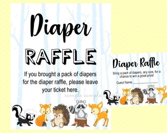 Diaper Raffle Ticket Sign, Diaper Raffle Card, Boy or Girl Game, Printable, Baby Shower Party, Woodland Design style
