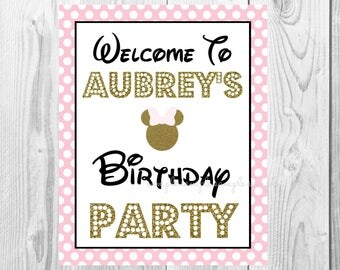 "Welcome To Birthday Girl Sign, Minnie Mouse Birthday Party Sign, 8""x10"" Printable, Instant Download, Gold & Pink Sign"