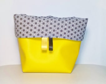 Yellow and black graphic theme storage basket