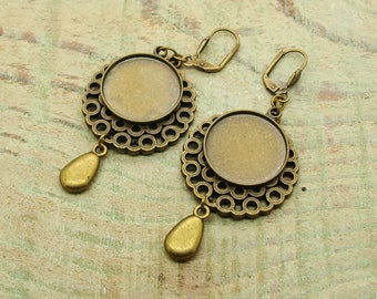 Kit earrings ' earrings with cabochon bronze backing