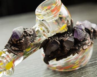 Glass Tobacco Pipe, Electroformed Glass, Electroplated Glass, Mermaid Glass, Glass Art, Amethyst, Gem studded