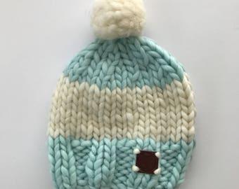 Hand knitted wool cap/Boobie Power/