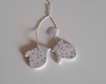 Ceramic hanging baby mittens