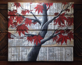 Japanese maple on reclaimed wood, reclaimed wood art, pallet wood art, maple, red, black and white, rustic chic art, pop of color