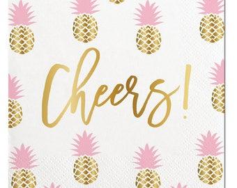 Cheers Napkins,Pineapple Napkins, Gold Foil Pineapple,Pineapple Party,Beverage Napkin,Pineapple,White Pineapple, Gold Foil Napkin,Summer