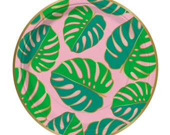 Palm Frond Plates, Tropical Party, Summer Party, Luau Party Plates, Let's Flamingle, Monstera Leaves,Flamingo Party,Tropical Plates,Hawaiian