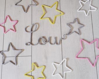 Name in knitted form star