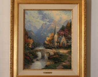 "Thomas Kinkade ""The Mountain Chapel, Chapels of Nature I"" Vintage 30"" X 24"""