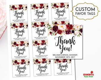 Burgundy Floral Favor Tags, Personalized Favor Tags Printable, Thank You Tags, Bridal Shower, Wedding, Birthday, Baby Shower, A38 B61 C48