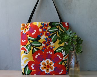 Tote Bag - Shopping Bag - Handbag - Gifts for her - Birthday - Tropical - Floral - Colourful - Bright Floral Bag - Summer Bag - Cotton -