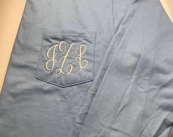 Monogrammed long sleeve Pocket T-shirt / Monogrammed long Sleeve Pocket Tee / Monogrammed Tee / Long sleeve Monogram shirt