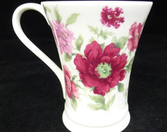 Laura Ashley Hand Decorated Pink Flower Floral Fine Bone China Coffee / Tea Mug - Vintage and Collectible