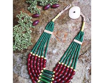 beautiful naga glass beads necklace.