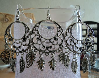 Leaf or feather earrings - silver - 7.5 cm